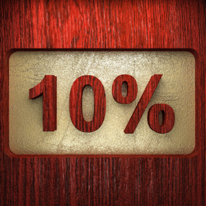 10 percent red wood sign with golden background