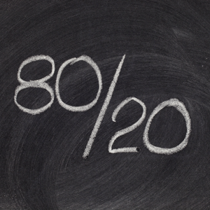 Pareto principle or eighty-twenty rule represented on a blackboard