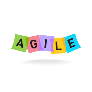 Coloured letters spelling Agile