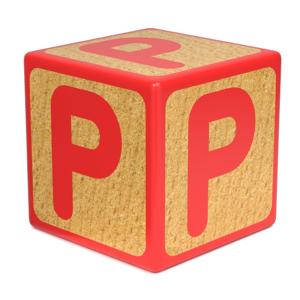 Letter P on a red wooden childrens alphabet block