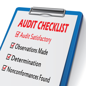 Audit checklist clipboard with checkboxes marked for related concepts