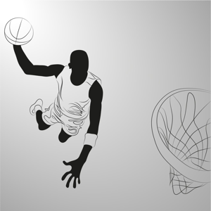 Basketball player on grey background