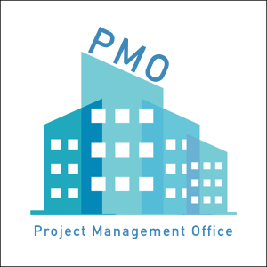 Blue building with the words project management office