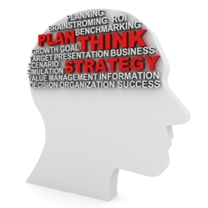 Head filled with words, plan, think, strategy