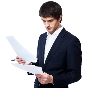 Businessman reading a document