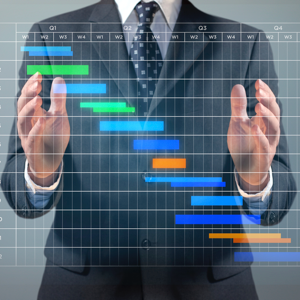 Businessman with a Gantt chart