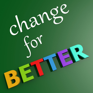 Change for better written on a green background
