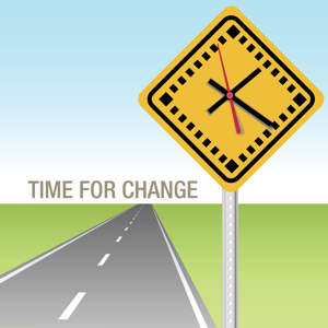 Traffic sign clock and future road: time for change