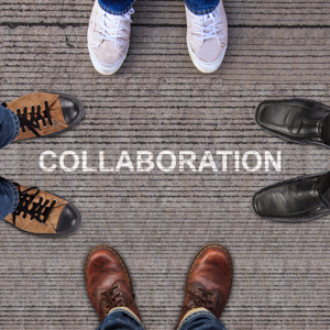 Four pairs of shoes with word COLLABORATION