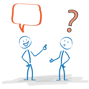 Stickmen with speech bubble and question mark on a white background
