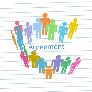 Colourful people on a lined paper background with the word agreement