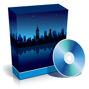 Blue software box with panorama of a modern city at night and CD