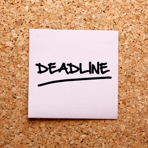 The word deadline written in a pink sticky note