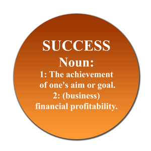 Dictionary definition of succes on orange button