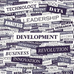 Development word cloud collage