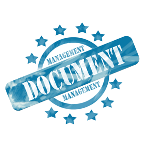 A blue ink circle and stars stamp with the words: Document Management