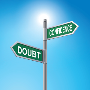 Crossroad signpost saying doubt and confidence