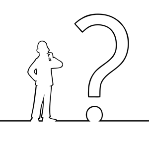 Black line art illustration of a man looking at a question mark
