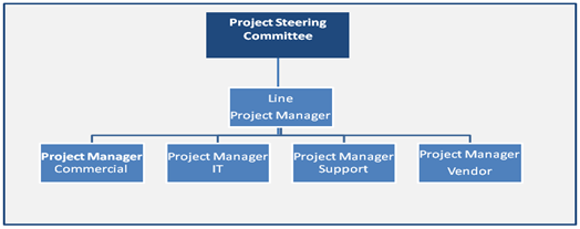 Diagram showing a line project manager leading an E2E project