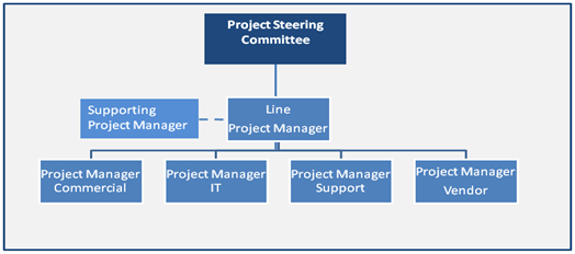 Diagram of a line project manager supported by a functional project manager in delivering an E2E project