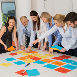 Business team brainstorming using coloured labels on a table in an office