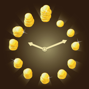 Clock with gold coins for numbers