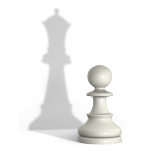 White pawn with queen's shadow representing concept of evolution