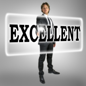 The word excellent on a virtual interface with a businessman standing behind it