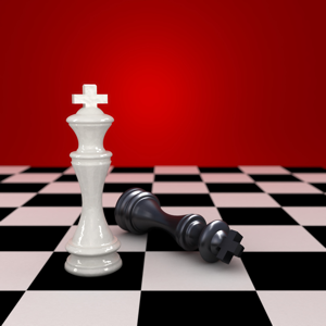 White king stands next to defeated black king in a game of chess
