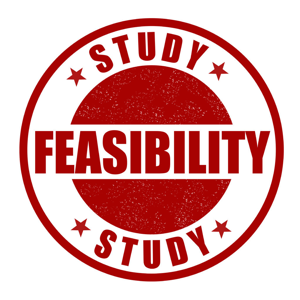 Red feasibility study stamp on a white background