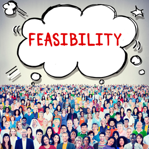 Feasibility think bubble above a croud of people