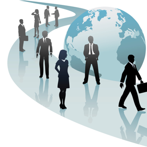 Group of international business people walk a future world path of progress