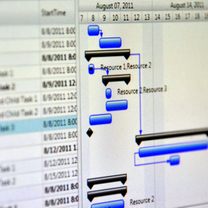 Close up shot of a detailed Gantt chart