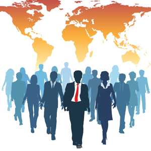 Business people walking forward from a world map