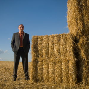 Businessman in a cornfield standing next to a haystack