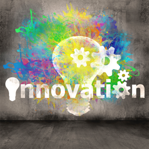 Innovation symbol on a concrete wall background