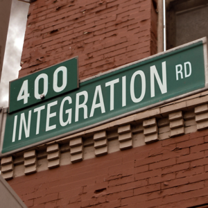 A street sign with the word integration written on it