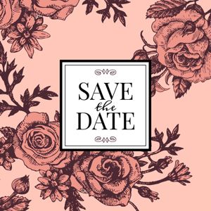 Vintage wedding invitation with pink roses