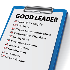 Good leader clipboard with checkboxes marked for leadership competencies