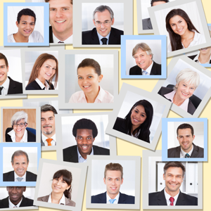 Collage of diverse multiethnic business people smiling