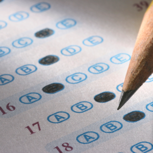 Multiple-choice exam sheet and pencil