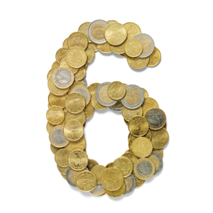 Number 6 in Euro coins