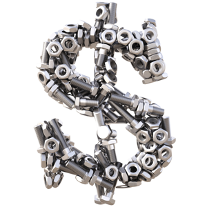 Dollar sign made from nuts and bolts