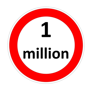 One million inside speed limit red circle on white background