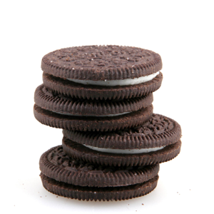 Oreo cookies on a white background