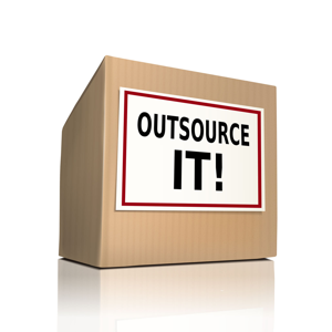 The words Outsource IT on a brown box
