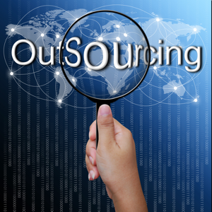 Outsourcing word in magnifying glass with network background