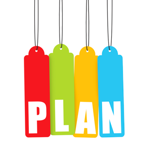 Four colourful tags spelling the word plan