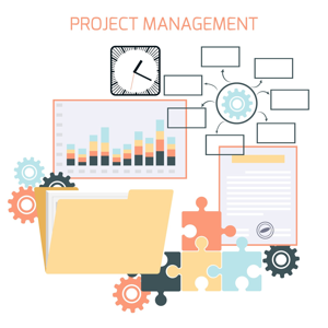Flat design of project management with icons