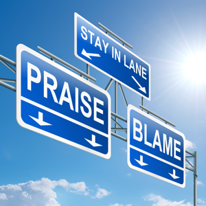 Overhead gantry sign with praise or blame lanes
